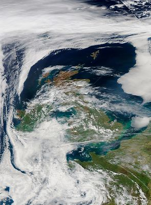 EARTH Western Europe -- 10 Apr 2015 -- This NASA MODIS satellite image from 10 Apr 2015 (latest available from the Terra and ...