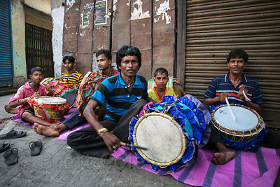 Family of drummers perform for no one in particular, Bhawanipur, Kolkata, India
