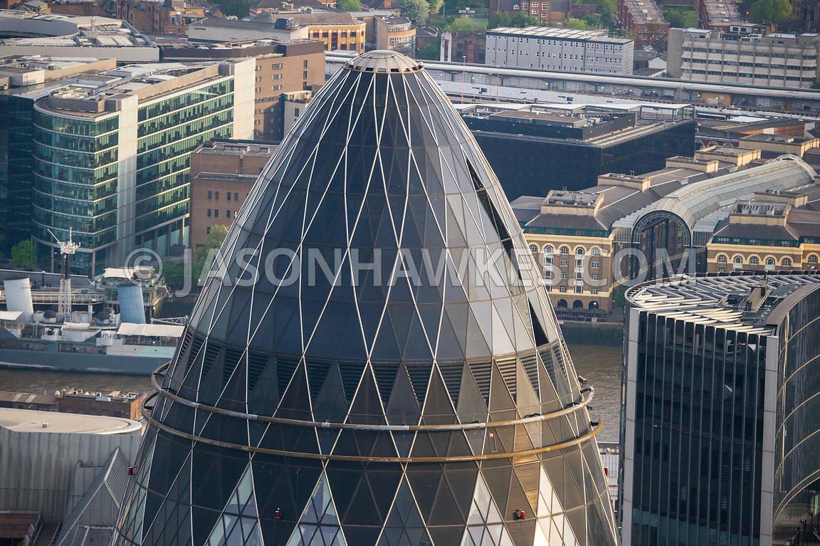 Aerial view of 30 St mary Axe, London