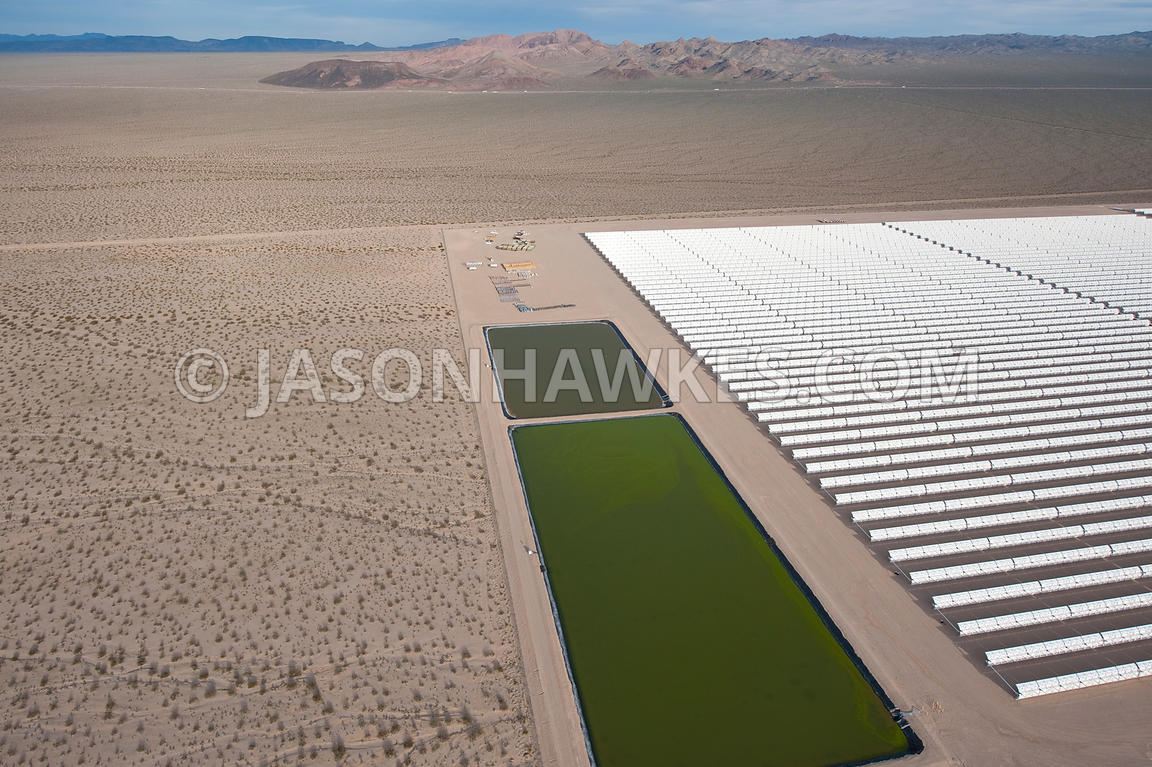 Aerial view of Solar One, solar power plant, Nevada Desert.