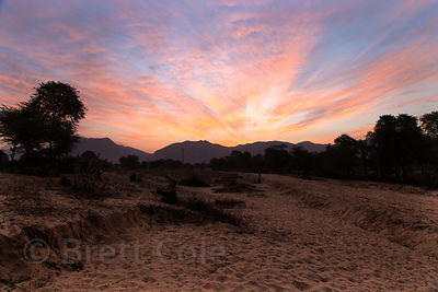 Sunset over the Aravali range, Majhewla, Rajasthan, India