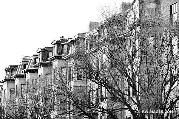 BEACON HILL BOSTON ARCHITECTURE BLACK AND WHITE