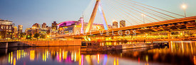 Boston Zakim Bridge at Night Panorama Photo