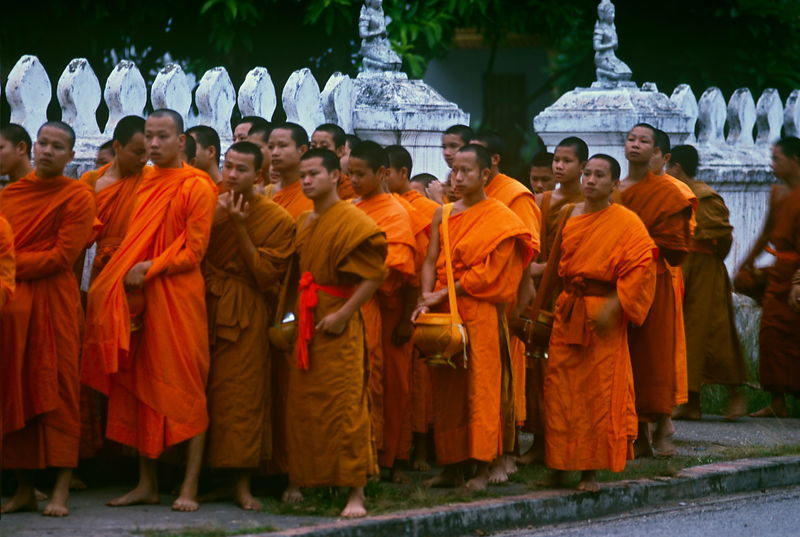 Lao monks collecting alms
