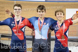U17 Men Keirin Podium. Ontario Track Championships, March 3, 2019