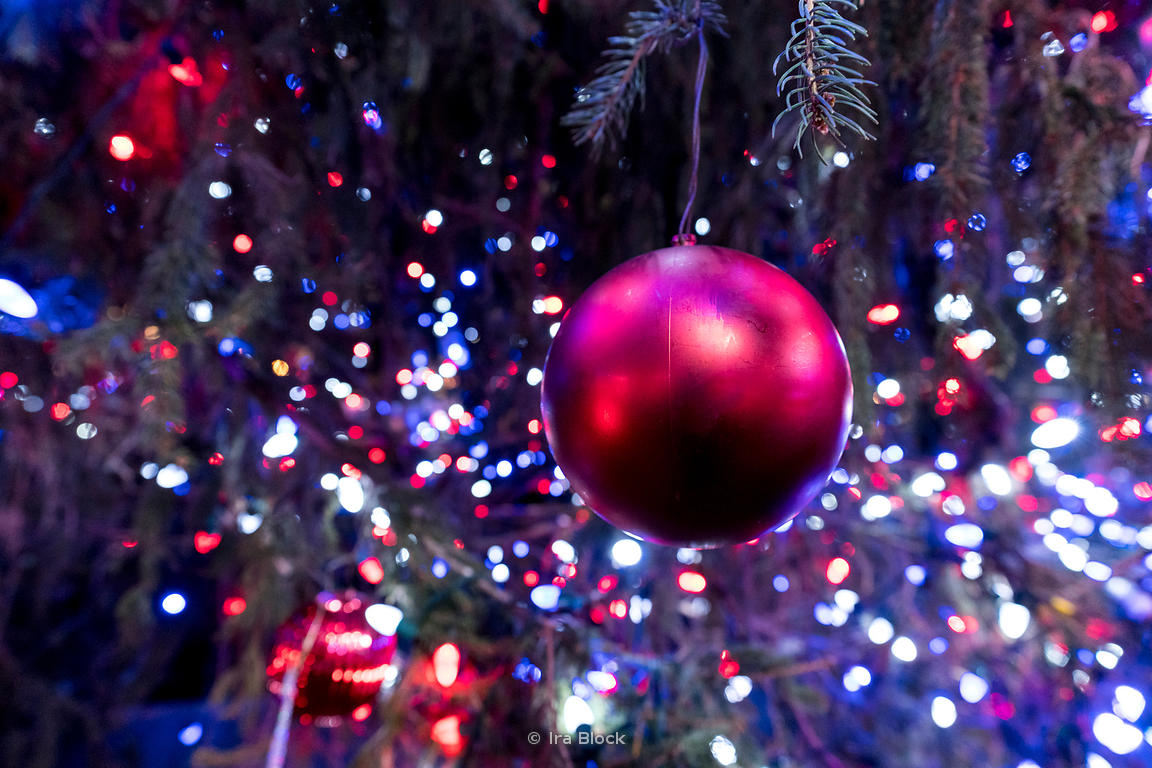 Closeup of Christmas tree decor at Bryant Park Winter village in Manhattan, New York City