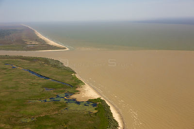 Aerial view of the Danube Delta, with  Danube River entering the Black Sea, Danube Delta Biosphere Reserve UNESCO World Herit...