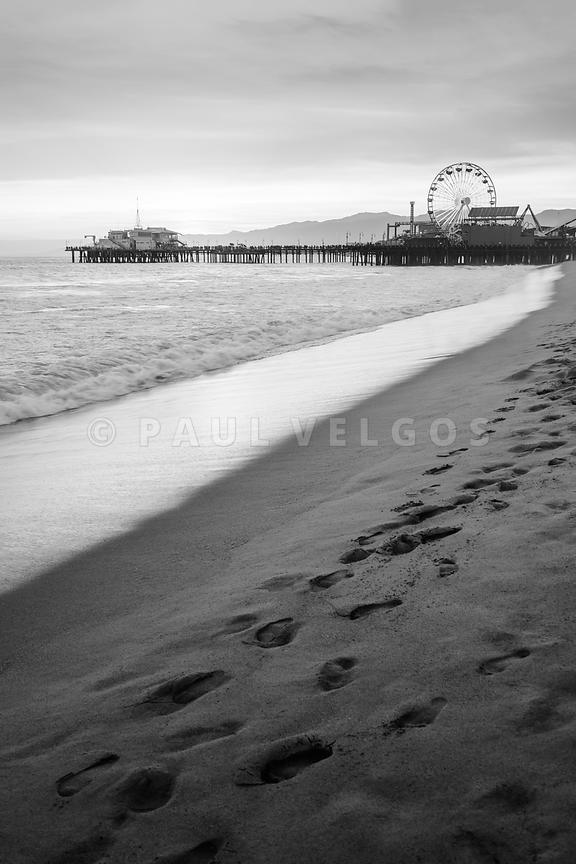 Santa Monica Pier Black and White Vertical Photo