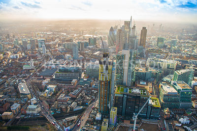 Aerial view of City of London skyline from Principal Place, Shoreditch High Street.