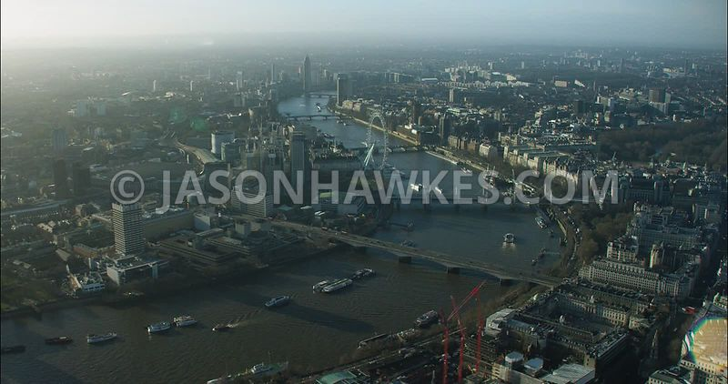 London Aerial footage, River Thames with Strand and Somerset House.