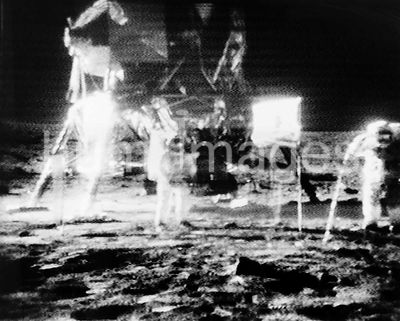 black and white reproduction taken from a telecast by the Apollo 11 lunar surface camera.