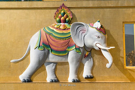 A decoration of an elephant on pedestal Buddha Dordenma, a golden great buddha in Thimphu, Bhutan.