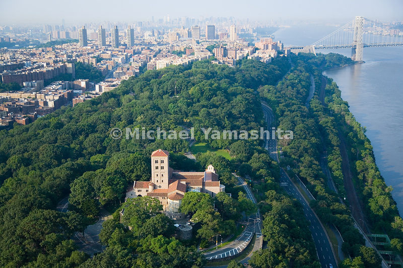 An aerial view of the Cloisters Museum in Fort Tyron Park.  Manhattan, New York City.