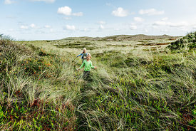 Danish girls playing in the dunes in Thy 2