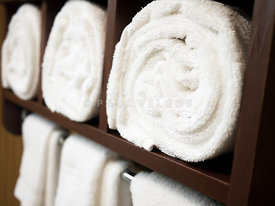 Towel Rack with Rolled Towels