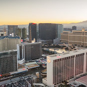 Aerial view of the Flamingo Hotel and surrounding buildings with mountains in background, Las Vegas, Nevada, USA