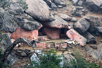 Temple in a hillside cave, Ajaypal, Rajasthan, India