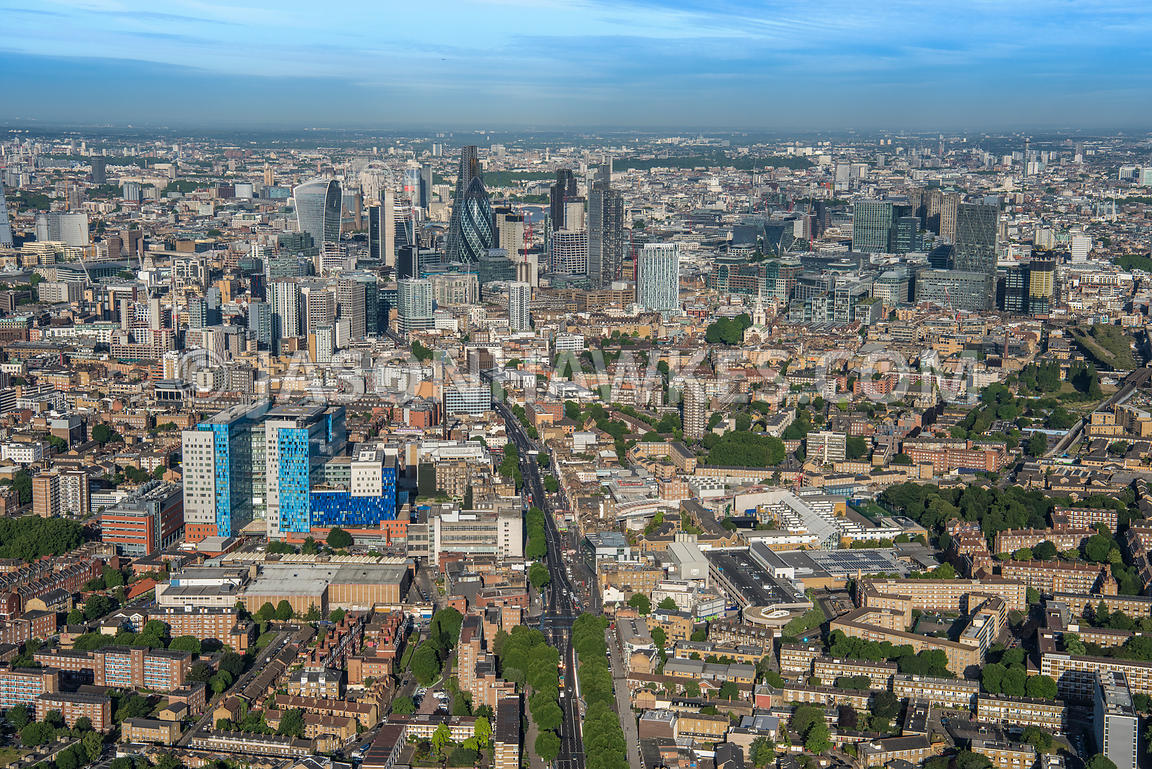 Aerial view of London, Whitechapel and Spitalfields.