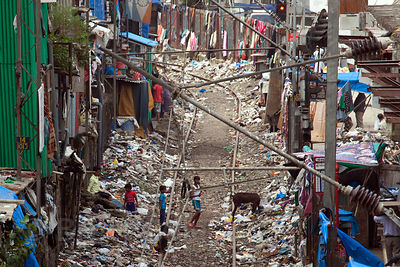 Garbage piled up along the tracks near the Bandra East slum in Mumbai, India.