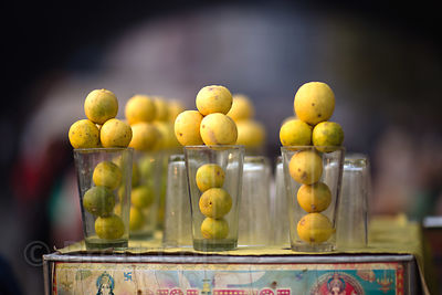 Lemon juice for sale at a market in Delhi, India