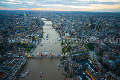 London. Aerial view of Tower Bridge