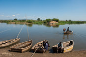 Boat crossing the Shire river at the Elephant Marsh, Malawi