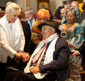 14th World Summit of Nobel Peace Laureates closing ceremony at the City Hall in Rome. Film Director Bernardo Bertolucci is co...