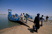 Ferry crossing the Niger river to get to Timbuktu, Mali