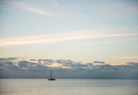 View of the sea with sailing boat