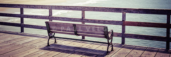 Seal Beach Pier Bench Panorama Photo