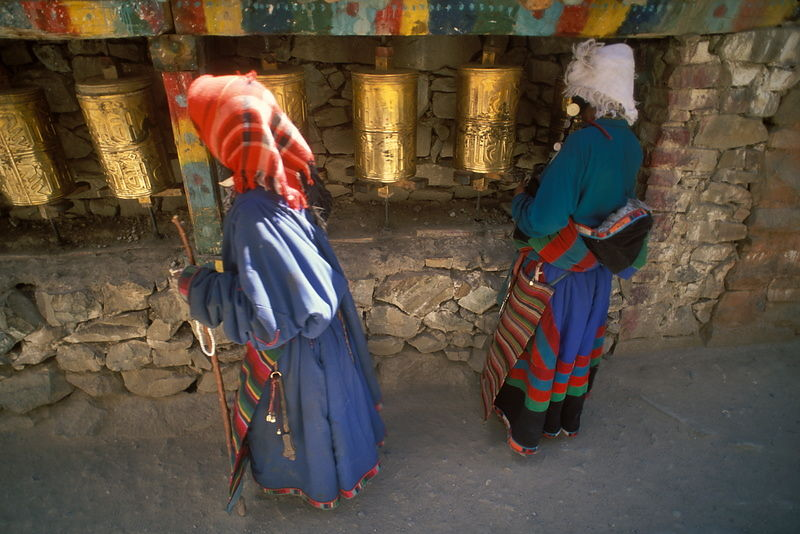 Pilgrims and prayer wheels