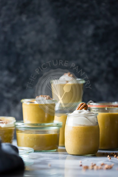 Pumpkin Butterscotch Pudding with Whipped Mascarpone and Toasted Buckwheat