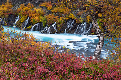 Hraunfossar waterfall, West of Iceland, September 2013.