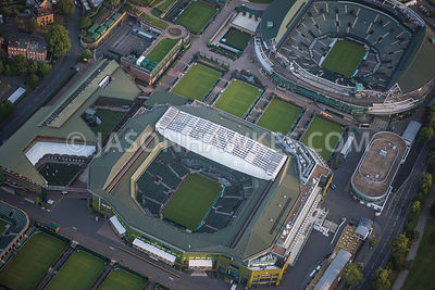Aerial view of London, Wimbledon Centre Court.