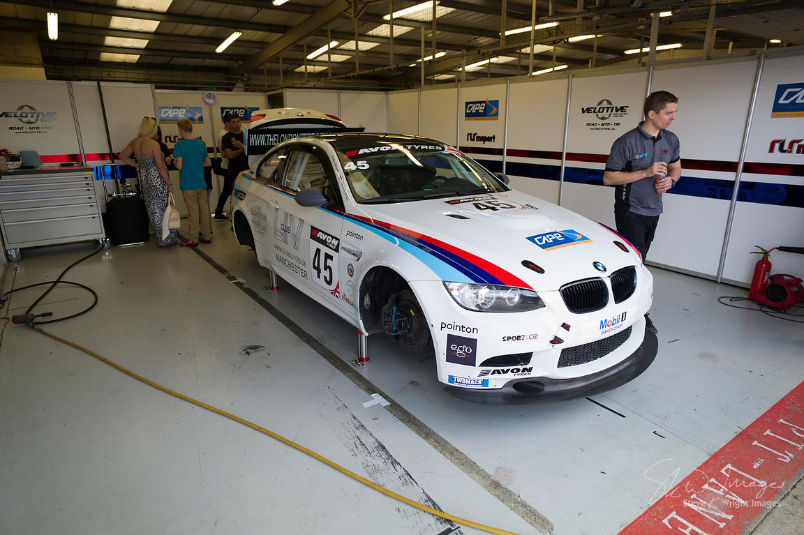 RLR BMW M3 GT4 in the pits at the Silverstone 500 - the third round of the British GT Championship 2014 - 1st June 2014