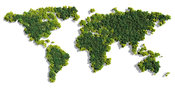 World Map made of green trees