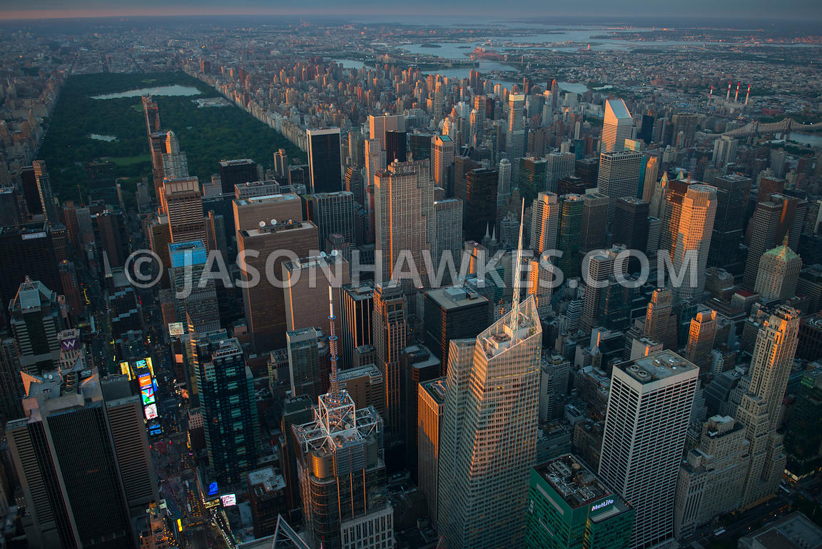 Aerial view of Midtown Manhattan, showing mnay of the impressive skyscrapers including 4 Times Square and the Bank of America...