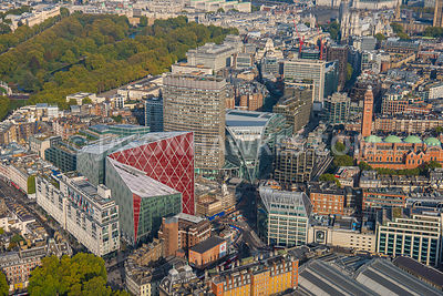 Aerial view of London, Portland House towards St James's Park.