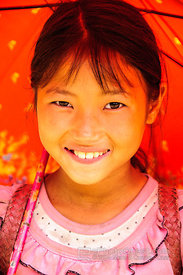 Hmong Girl with Red Umbrella