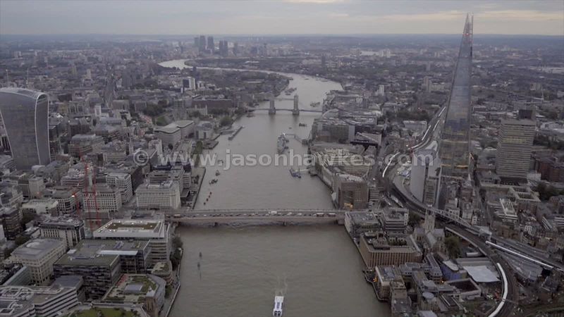 Aerial footage of the River Thames in London