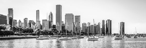 Chicago Skyline Panorama Photo at Monroe Harbor