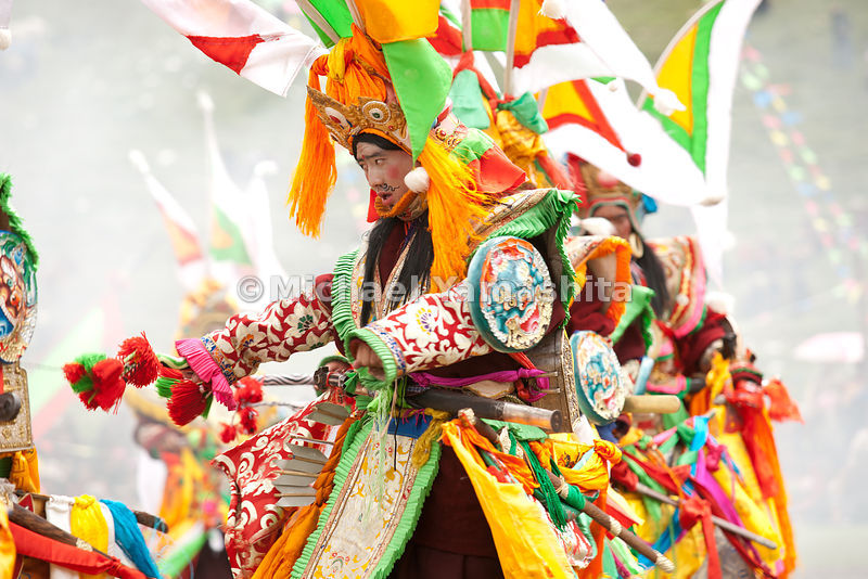 Through ritualized dances depicting battles on horseback, the forces of Ling Gesar gallop toward their enemies.