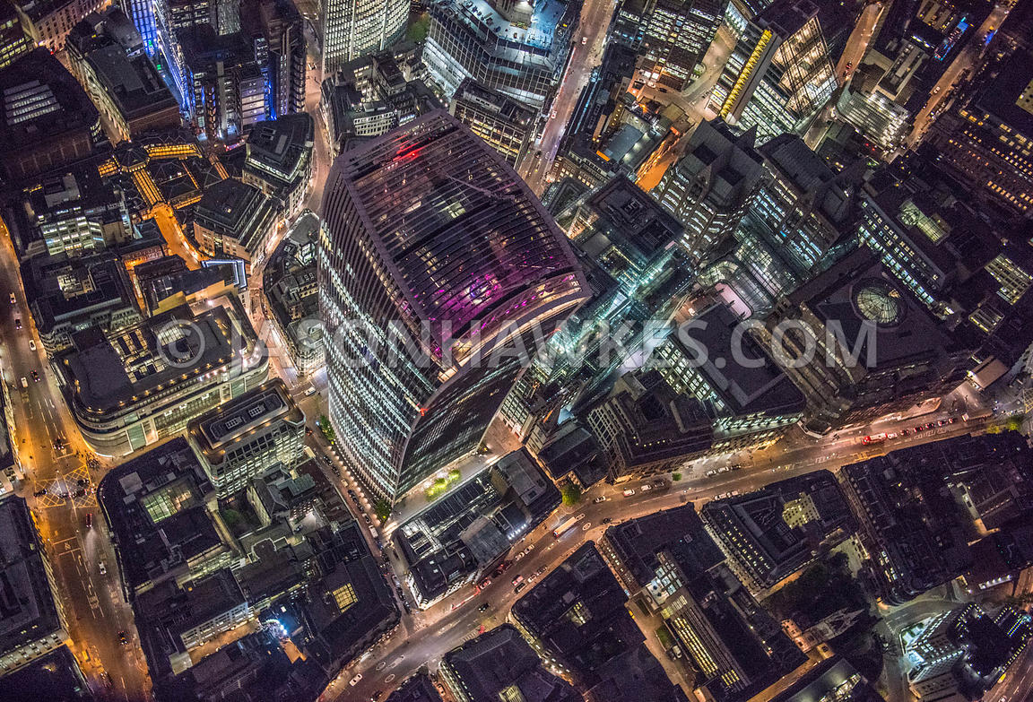 Night aerial view looking down onto 20 Fenchurch St, London.
