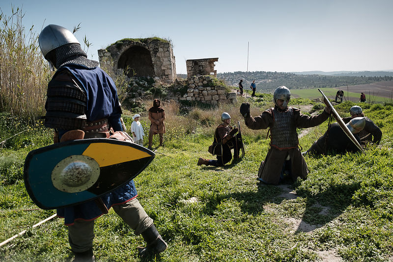 "Members of the ""Regnum Hierosolymitanum"" group dress in Crusader clothing and take part at an event re-enacting the Crusaders..."