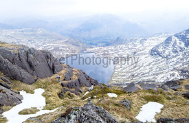 Looking down to Stickle Tarn from the top of Jack's Rake, Pavey Ark in the Lake District