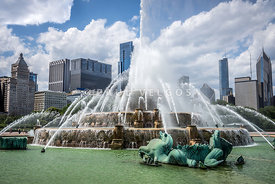 HDR Picture of Buckingham Fountain and Chicago Skyline