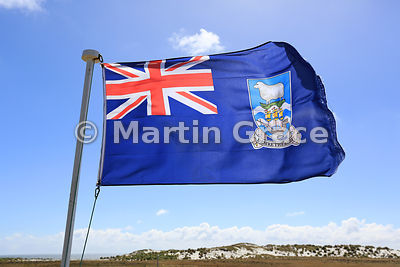 Falkland Islands flag flying on Sea Lion Island, Falkland Islands