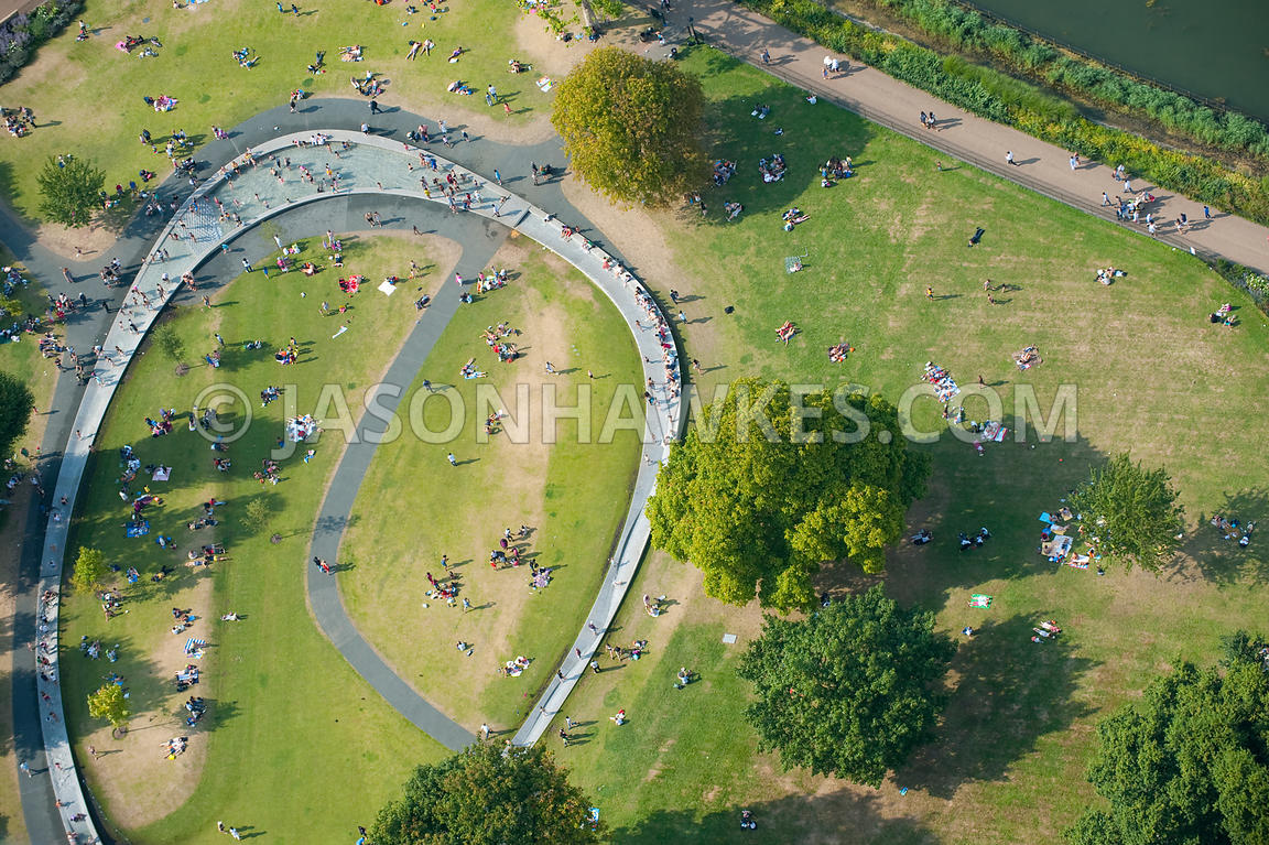Aerial view of the Diana Memorial Fountain in Hyde Park