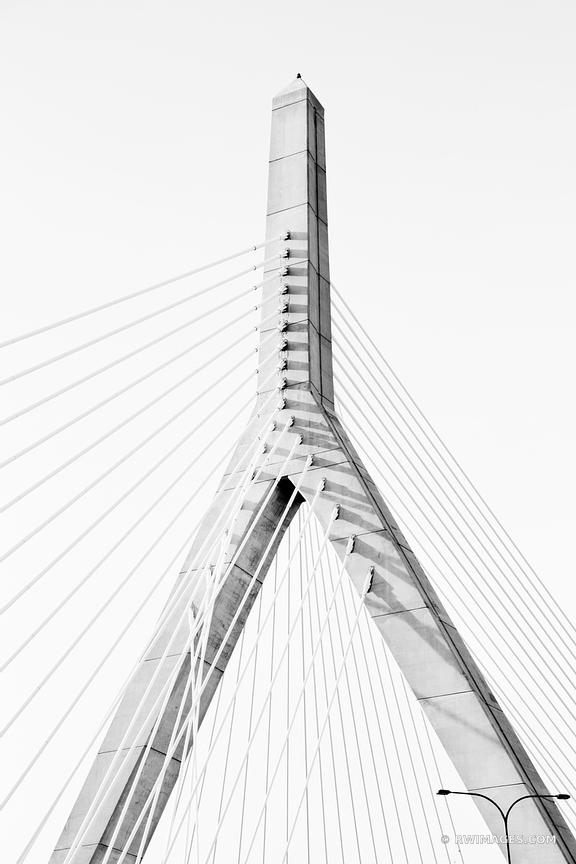 ZAKIM BRIDGE BOSTON BLACK AND WHITE VERTICAL
