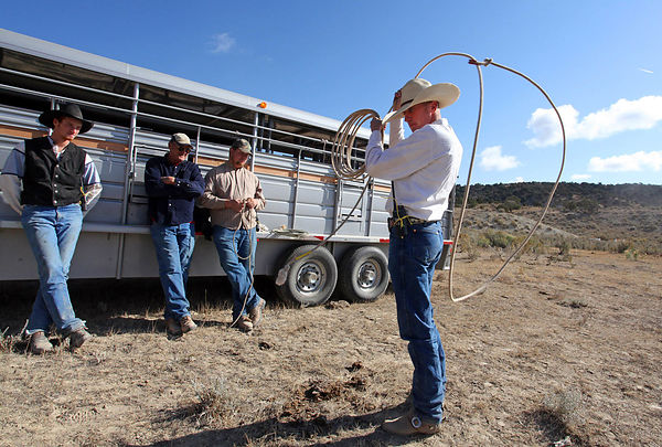 The cowboys are training to the technique of lasso in Mares Canyon, Colorado, during a capture campaign.